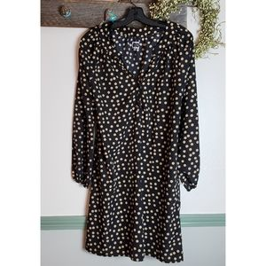Polka dot Black and Tan V Neck Dress Medium